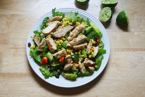 Tequila Lime Chicken Fajita Salad with Chile Lime Vinaigrette | ohsodecadent.com