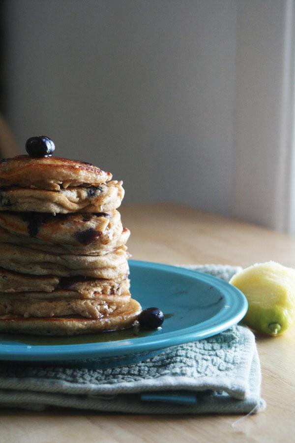 Whole Wheat Blueberry Lemon Pancakes | ohsodecadent.com