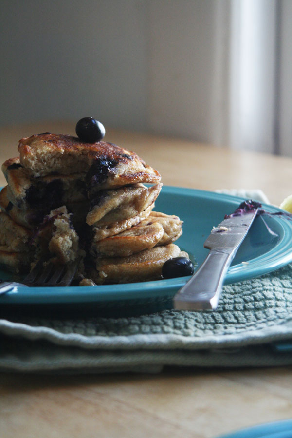 Whole Wheat Blueberry Lemon Pancakes | ohsodecadent.com
